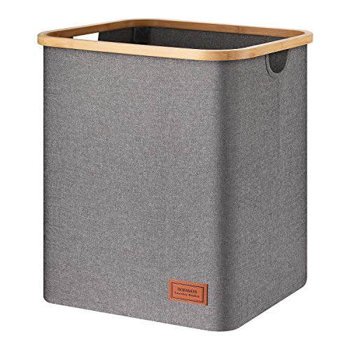 Foldable Laundry Basket - Large Laundry Hamper, 82L Tall Laundry Basket, Grey Clothes Hamper for Clothes,Towels, Blankets, Toys Organizer, Bathroom,...