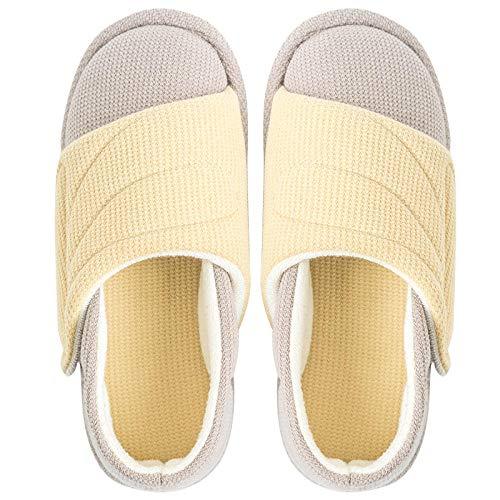 Traagschuim Huisschoenen voor Athritis,Binnentas met opsluitschoenen, zachte zwangerschaps-pantoffels-geel_38 / 39,Diabetische wandelschoenen voor heren Ademende sneakers