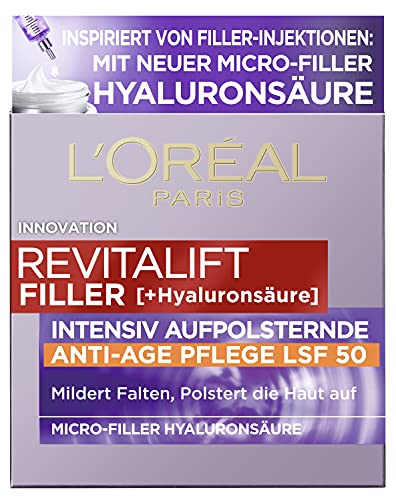 L'Oréal Paris Hyaluron Day Cream with SPF 50, Anti-Ageing Face Care with...