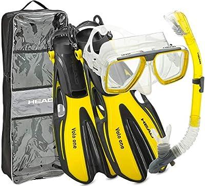 Rapido Italian Design Premium Tempered Glass Lens Snorkeling Mask - Easy Breathe Dry Snorkel - Open Heel Strap Self Adjust Snorkel Swim Fin - with Snorkel Set Carry Bag, YL-L/XL