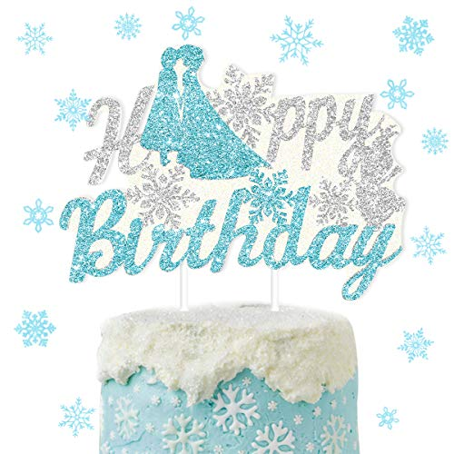 Frozen Happy Birthday Cake Topper Snowflake Cake Decorations for Girl's 1st 2nd 3rd 4th 5th Birthday Party Supplies Winter Wonderland Ice Princess Party Decorations