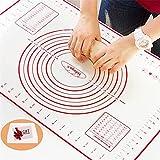 Tapete de Silicona para Hornear Baking Mat Grande Antiadherente, Raspador de Regalo, Incluye Medidas, Libre de BPA, para Hacer Fondant Pizza Dough Tarta, 60 x 40 cm (Rojo)