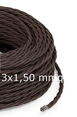 Cavo Elettrico Treccia/Trecciato Rivestito in Tessuto. Colore Marrone. Sezione 3x1.50 (10 Metri)
