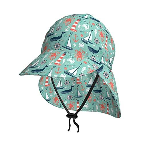 """""""NA"""" Gorro de natación para bebé, bebé, bebé, niños, niños y niñas, sombrero de sol con solapa, para piscina, playa, protección UV para niños de 9 a 18 meses"""