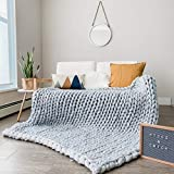 Chunky Knit Blanket | Hand Knitted Super Soft Giant Yarn Throw Blankets + Storage Bag | Vegan Wool Boho Accent Decor Valentine's Day Gift Neutral Home Farmhouse Couch Sofa Bench Bed (50'x60', Gray)