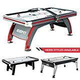ESPN Sports Air Hockey Game Table: 84 Inch Indoor Arcade Gaming Set with Electronic Overhead Score System, Sound Effects