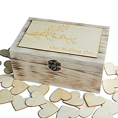 Wedding Guest Book, Rustic Wedding Guestbook, Wooden Keepsake box, Wedding Box with 100 Hearts