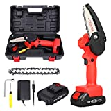 Mini Chainsaw Cordless 4-Inch Electric Power Chain Saw Small Handheld Portable Chainsaw One-Hand Wood Saw for Tree Branch Wood Cutting