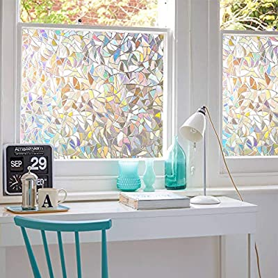 3D No Glue Window Privacy Film Static Window Clings Decorative Film Rainbow Light Effect Prism Window Stickers for Home Glass Door Kitchen Heat Control Anti UV (17.5x78.7 inches)
