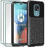 ivoler Funda para Motorola Moto E7, con 3 Unidades Cristal Templado, Fibra de Carbono Carcasa Protectora Antigolpes Negro, Suave TPU Silicona Caso Anti-Choques Case Cover