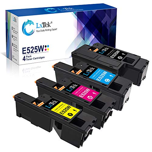 LxTek Remanufactured Toner Cartridge Replacement for Dell E525W E525 to use with E525W Color Laser Printer, 4 Pack (593-BBJX 593-BBJU 593-BBJV 593-BBJW)