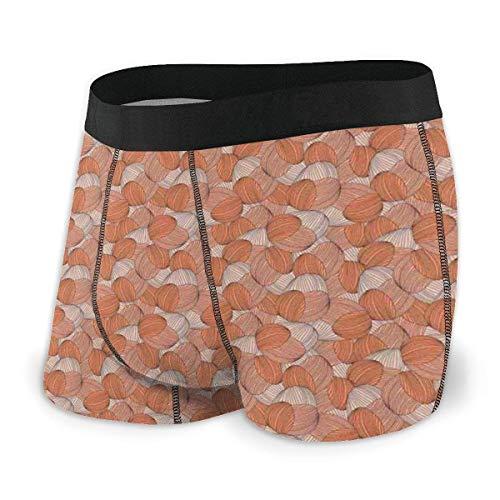 Web--ster Herren Boxer Slips, handgezeichnete gestreifte gewellte Fliesen überlappendes Design in Pastelltönen Größe L.