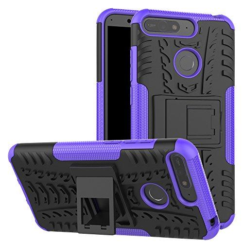 XINYUNEW Funda Huawei P Smart, 360 Grados Protective+Pantalla de Vidrio Templado Caso Carcasa Case Cover Skin móviles telefonía Carcasas Fundas para Huawei P Smart-Púrpura