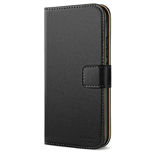 HOOMIL Handyhülle für Moto G5S Hülle, Premium PU Leder Flip Schutzhülle für Motorola Moto G5S Tasche, Schwarz