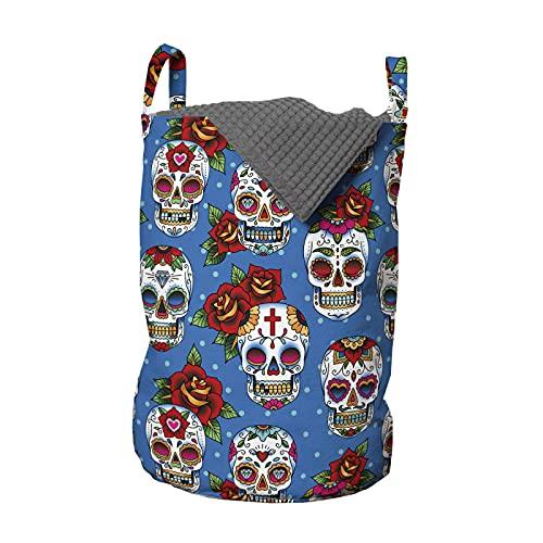 ABAKUHAUS Cráneo del azúcar Bolsa de lavandería, Retro de los puntos de México, Cesta con asas Cierre de cordón para las lavanderías, 33 x 33 x 49 cm, Multicolor