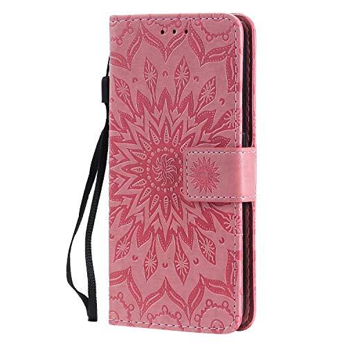 KKEIKO Hülle für Galaxy J4 Core, PU Leder Brieftasche Schutzhülle Klapphülle, Sun Blumen Design Stoßfest HandyHülle für Samsung Galaxy J4 Core - Rosa