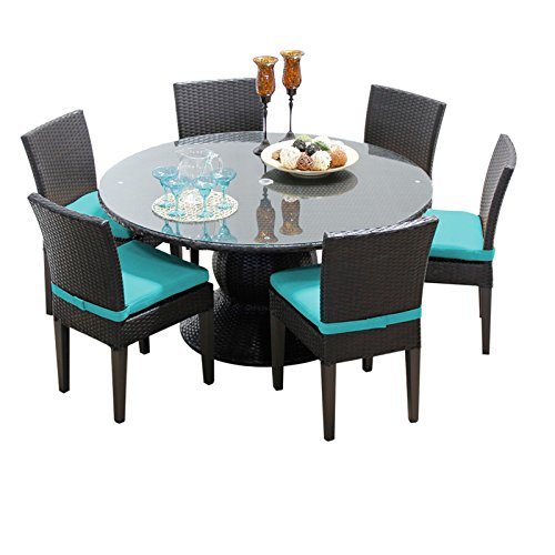 TK Classics BARBADOS-60-KIT-6C-ARUBA Barbados 60 Inch Table with 6 Armless Chairs Outdoor Wicker Patio Dining Sets, Aruba