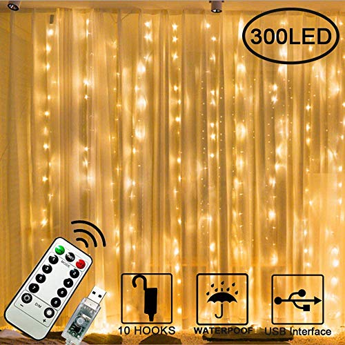 Chipark 300 LED Curtain Lights, 3mx3m USB Window Fairy String Lights with 8 Modes Remote Control Timer Waterproof Copper Light for Outdoor Indoor Wedding Party Garden Bedroom Decoration(Warm White)