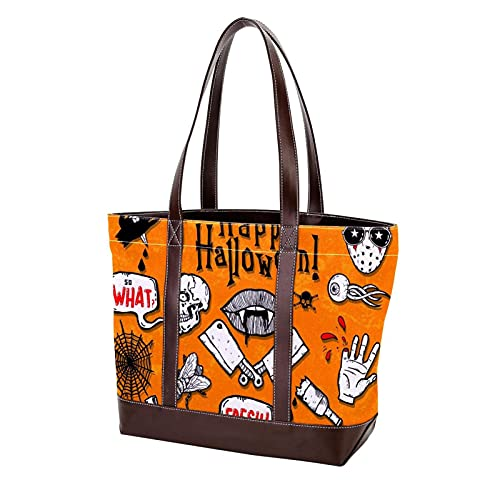 Bolsos de mano de Halloween Skull Bat Zombie para madres, mujeres, niñas, señoras, bolso de estudiante, bolso de compras, bolsos de hombro, correa liviana