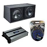 Harmony Audio HA-RD12 Car Rhythm Loaded Dual 12' Vented 1200W Sub Box Bundle with HA-A800.1 Amplifier & Amp Kit