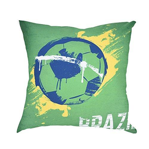 BakeLIN World Cup Thema Drucken Kissenbezüge Fußball Elemente Quadrat Pillowcase Kissenhuelle Lendenkissen Sofa Haus Dekoration 45cm*45cm (45cm*45cm, A)