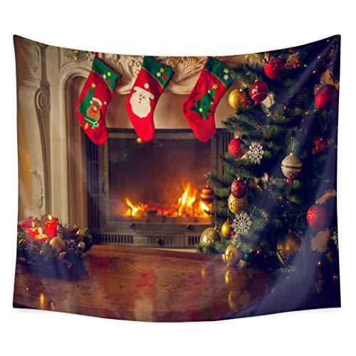 QCWN kerstboom wandtapijt, vrolijke kerstboom ornamenten Apple kaars Decor muur opknoping tapijt voor vakantie slaapkamer woonkamer slaapkamer.
