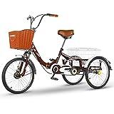 zyy Tres Adultos Triciclos Trike Rueda de Bicicleta de 20 Pulgadas Triciclo Bicicleta de Triciclo Plegable 1 Marchas Triciclo con Cesta para Compras de Deportes Al Aire Libre (Color : C)