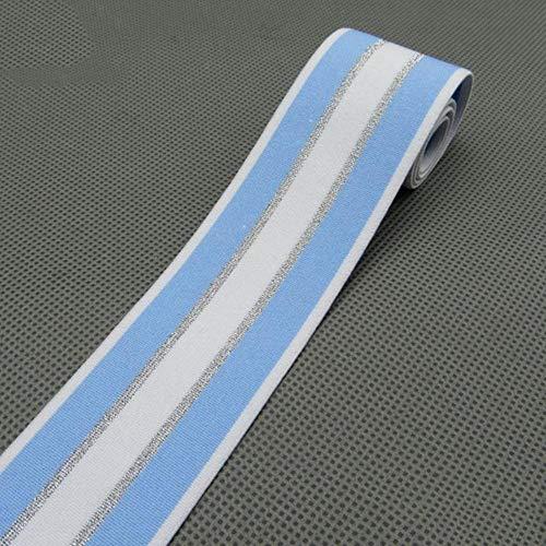 2M 40mm glitter zilver streep elastische banden broek tailleband stretch rubberen band elastische banden voor tassen schoenen DIY ambachten, lichtblauw, 40mm