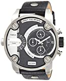 Diesel Men's Little Daddy Quartz Stainless Steel and Leather Chronograph Watch, Color: Grey, Black (Model: DZ7256)
