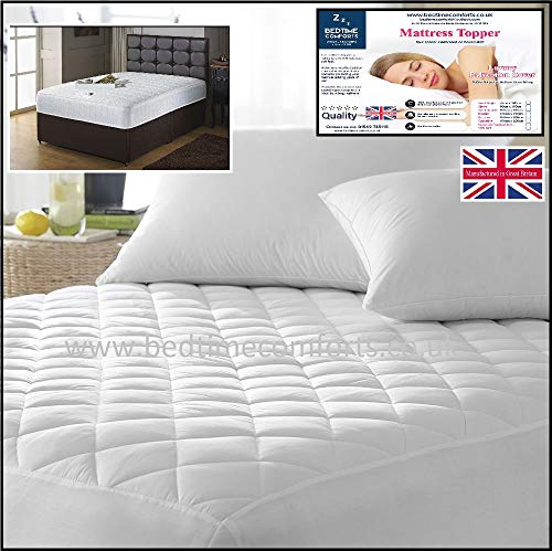 Bedtime Comforts Ltd EXTRA LONG STUDENT BED 3' x 7' FITTED QUILTED MATTRESS TOPPER (Boxed Skirt) 36' x 84' VARIOUS DEPTHS TO CHOOSE (11')
