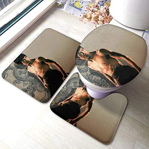 LuoYangShiLaoChengQuTianYuGangCaiXiaoShouBu Bruce Lee Juego de 3 alfombrillas de baño suaves, antideslizantes, absorbentes y funda de alfombra de baño, en forma de U