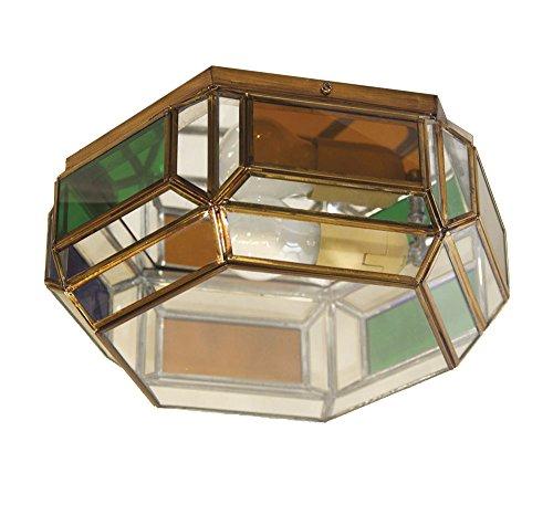 Plafón Granadino Artesanal Modelo Tabernas 7046/1EVTC (Envejecido -Cristal Transparente Color)