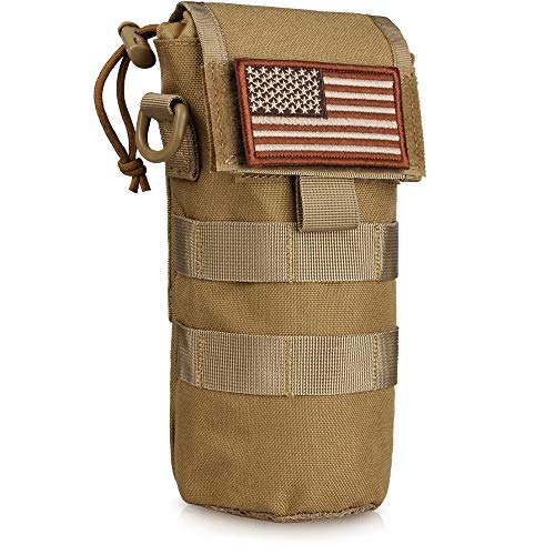 WYNEX Molle Water Bottle Pouch Folding, Tactcail Molle Foldable Water Bottle Holder Kettle Hydration Carrier Water Bottles Bag with Mesh Bottom Insulated Drawstring with Flag Patch