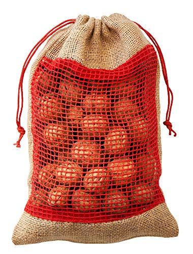 5 bolsas de yute, sacos de yute con ventana de algodón y...