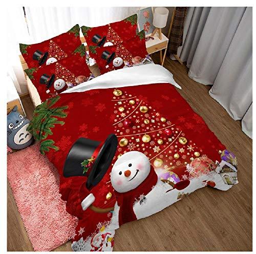 BAIYANG Merry Christmas Comforter Cover Snowman Christmas Tree Gift Print Twin Full Queen King Size Duvet Cover Set Boy Festival Bedding Super King(260x220cm)