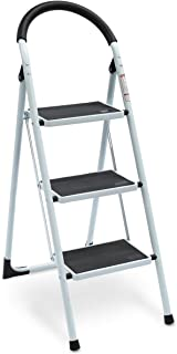 KingSo 3 Step Ladder Folding Step Stool with Rubber Handgrip and Wide Anti-Slip Pedal Sturdy Steel Ladder, Lightweight 330lbs Capacity