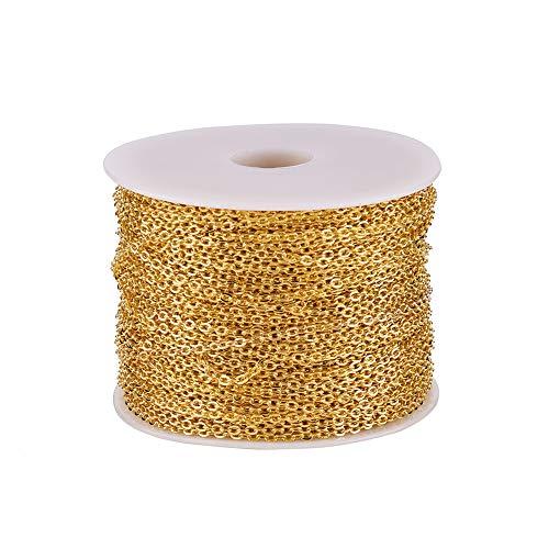 100 m/rollo de cadena de eslabones de hierro dorado, 3 x 2 mm, sin soldar, cadenas de cable ovaladas planas para collares, joyas, accesorios para hacer bricolaje