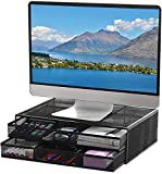 YCOCO Monitor Stand Computer Riser Desk Organizer Stand Desktop Printer Stand for Laptop Computer Storage Shelf & Screen Holder 16.7 inches with 2 Drawers,Black
