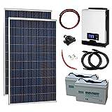 Sistema de energía solar completo fuera de la red de 550 W 24 V con 2 paneles solares de 275 W, inversor híbrido de 2 kW y 2 baterías de 100 Ah