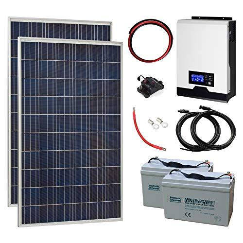 550 W 24 V komplett netzunabhängiges Solaranlage mit 2 x 275 W Solarzellen, 2 kW Hybrid-Wechselrichter und 2 x 100 Ah Batterien.