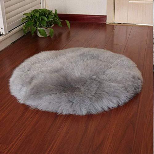 DAOXU Kunstfell Pelz Stuhl, Sitz Pad Shaggy Bereich Teppiche für Schlafzimmer Sofa Boden Home Decorator Teppiche Kinder Spielen Teppich Matte Teppich (Grau, 45cm runde)