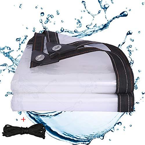 Telone impermeabile trasparente con occhielli 2 x 4 m, grande telo di copertura impermeabile in tessuto, telo trasparente per esterni, tetto per piante, invernale, resistente alle intemperie