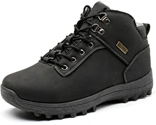 Mens Fur Lined Leather Snow Boots Non Slip Water Resistant Outdoor Hiking Shoes Backpacking Warm Booties