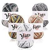5 paquetes de lana acrílica, lana de ganchillo multicolor para tejer, paquetes de hilados de lana de ganchillo, paquetes de hilo de lana de color, cada 50 g (Gray,White,Khaki,Black,Green)