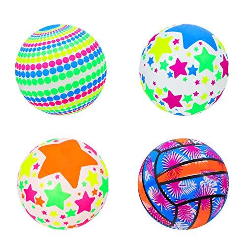 TOYANDONA 4 Piezas Niños Bolas Hinchables Coloridas Deportivas Hi Jumping Balls Super Ball Expendedora Juguetes Fiesta Favores para Patio Interior Al Aire Libre (Estilo Aleatorio)