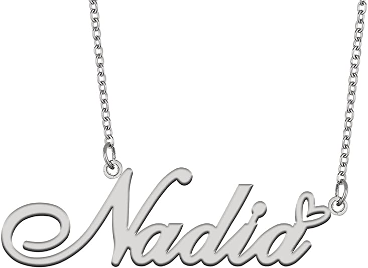 Roll over image to zoom in Visit the AOLOSHOW Store Aoloshow Gold Name Necklace Heart Charm Pendant Custom