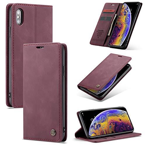 AKC Funda Compatible para iPhone X/XS Carcasa con Flip Case Cover Cuero Magnético Plegable Carter Soporte Prueba de Golpes Caso-Vino Rojo