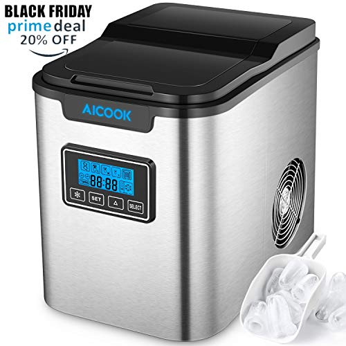 Aicook Machine à Glaçons, Machine a Glace Acier Inoxydable avec Réservoir 2.2 L, 9 Glaçons Par 6-12 Min,...