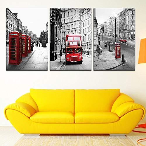 aoyukf Rode Bus London Street Cityscape Canvas Foto's Voor Woonkamer Thuis Muurdecoratie Salon Moderne Kunst Poster-Frameless-40X60Cmx3