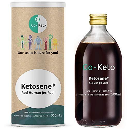 Go-Keto Ketosene® MCT Öl, 500ml | Premium MCT ÖL C8/C10, 100% Kokosöl palmölfrei, mit Astaxanthin | perfekt für die Keto Diät | ideal für Bulletproof Coffee oder Keto Shake | Paläo, vegan, Low Carb
